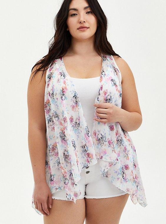 White Floral Lace Chiffon Vest, FLORAL - WHITE, hi-res