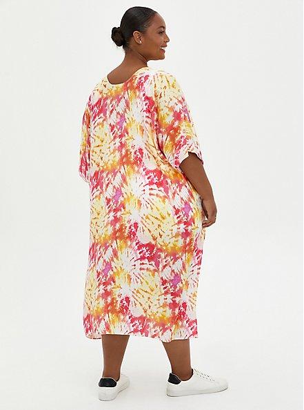 Plus Size Pink & Yellow Tie-Dye Duster Kimono, TIE DYE-PINK, alternate
