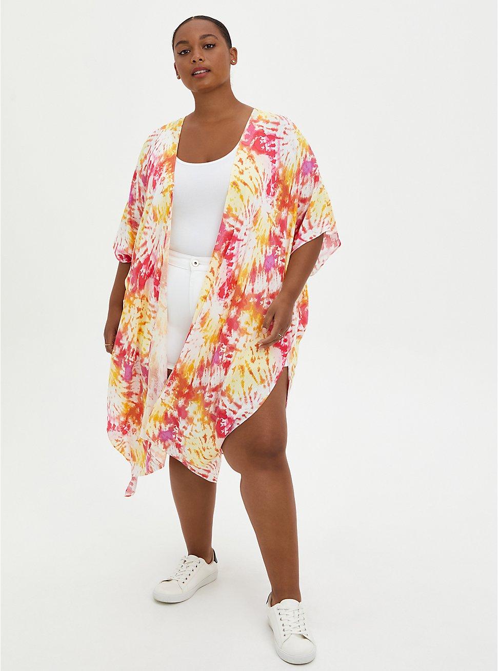 Plus Size Pink & Yellow Tie-Dye Duster Kimono, TIE DYE-PINK, hi-res