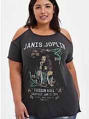 Plus Size Vintage Black Janis Joplin Cold Shoulder Tee, VINTAGE BLACK, hi-res