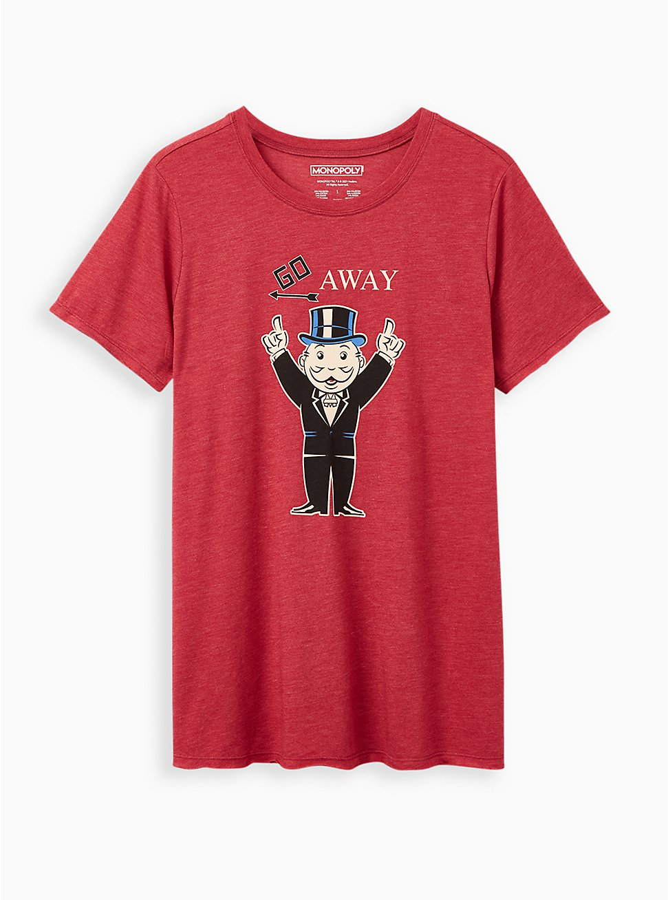 Plus Size Slim Fit Crew Tee – Monopoly Go Away Red, RED, hi-res
