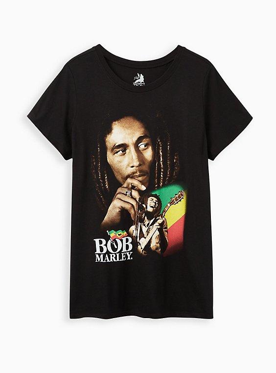 Plus Size Classic Fit Crew Tee – Bob Marley Black, DEEP BLACK, hi-res