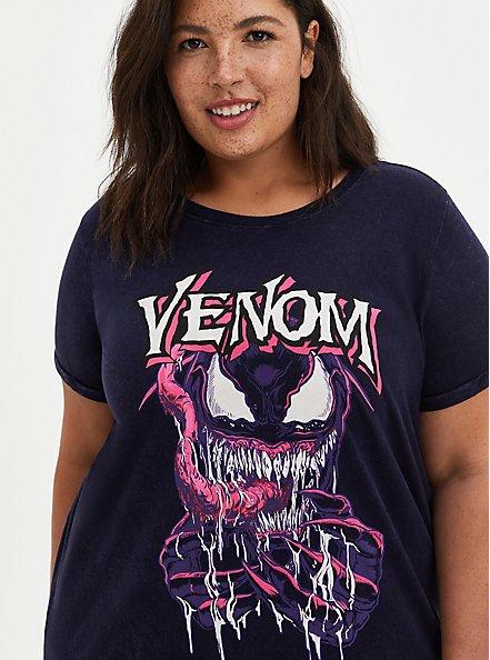 Plus Size Marvel Venom Mineral Wash Crew Top, PEACOAT, alternate
