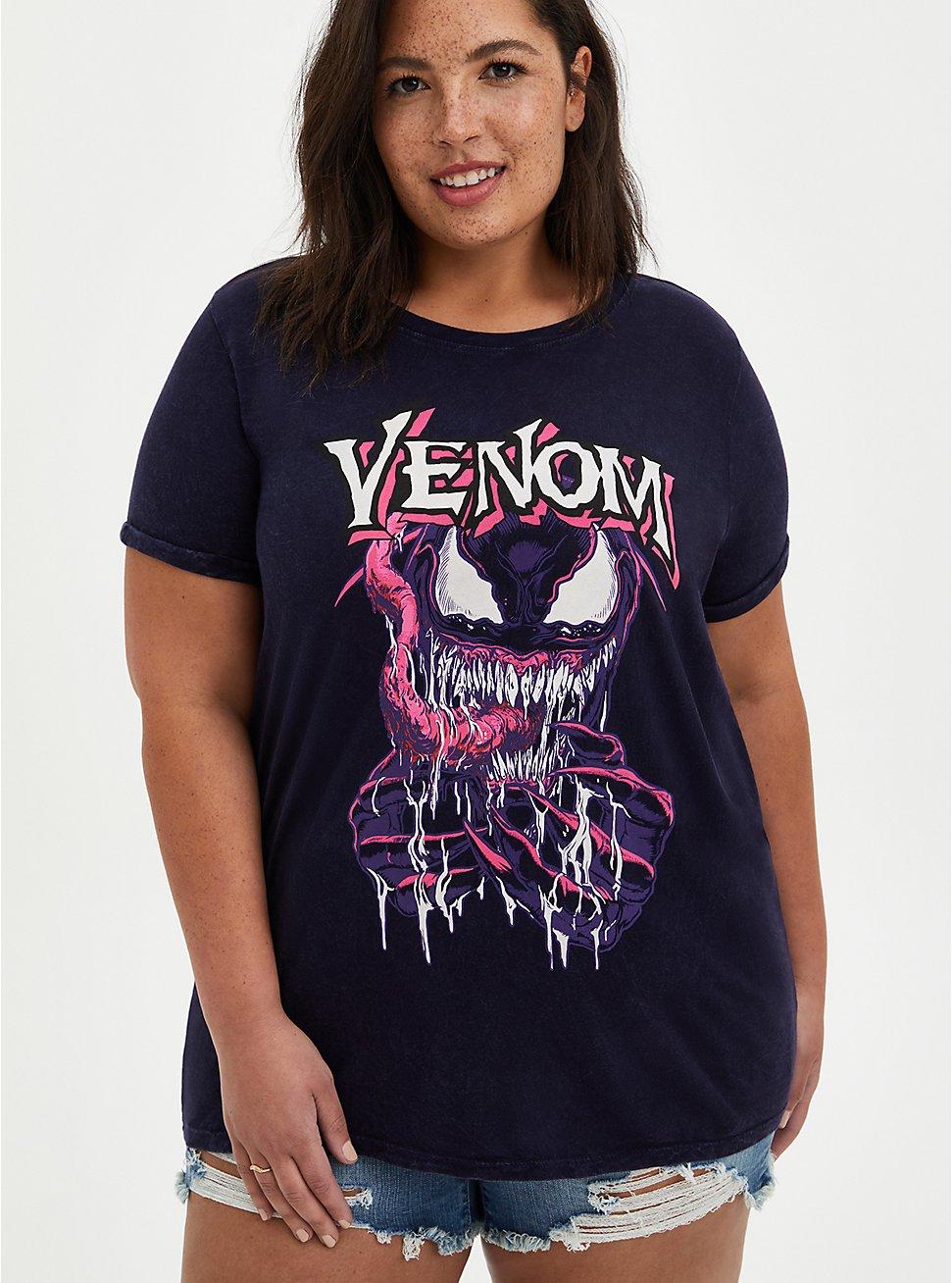 Plus Size Marvel Venom Mineral Wash Crew Top, PEACOAT, hi-res