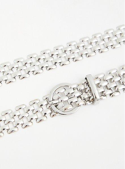 Silver Tone Metal Link Belt , SILVER, alternate
