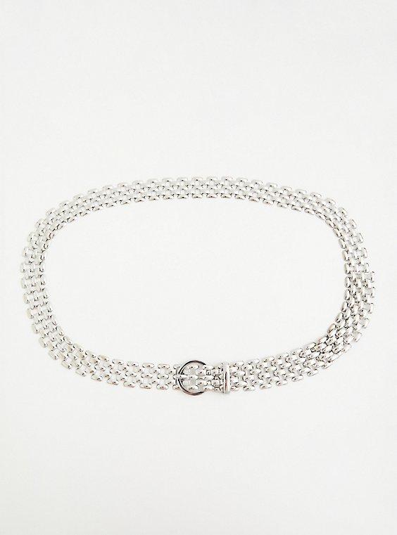 Silver Tone Metal Link Belt , SILVER, hi-res
