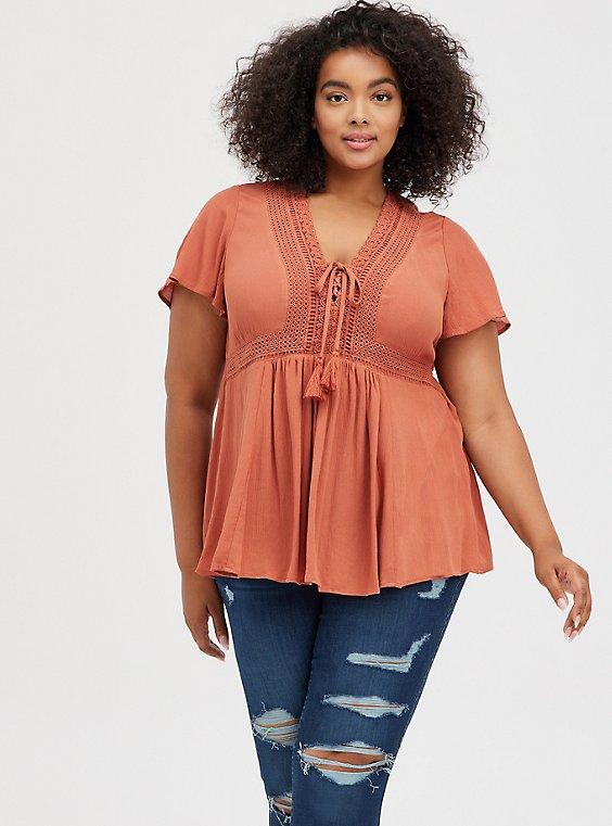 Plus Size Auburn Crinkle Gauze Lace Up Babydoll Top, , hi-res