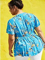 Blue Floral Crinkle Gauze Lace Up Babydoll Top, FLORAL - BLUE, alternate
