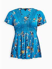 Blue Floral Crinkle Gauze Lace Up Babydoll Top, FLORAL - BLUE, hi-res