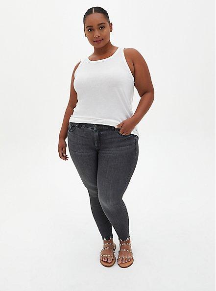 Slim Fit High Neck Tank - Triblend Jersey White, BRIGHT WHITE, alternate