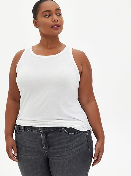 Slim Fit High Neck Tank - Triblend Jersey White, BRIGHT WHITE, hi-res