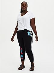 Space Jam 2 Side Stripe Crop Legging , DEEP BLACK-BRIGHT WHITE STRIPE, hi-res
