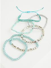 Silver Tone & Faux Turquoise Pull Clasp Bracelet, TURQUOISE, alternate
