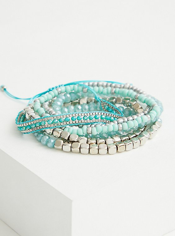 Silver Tone & Faux Turquoise Pull Clasp Bracelet, , hi-res