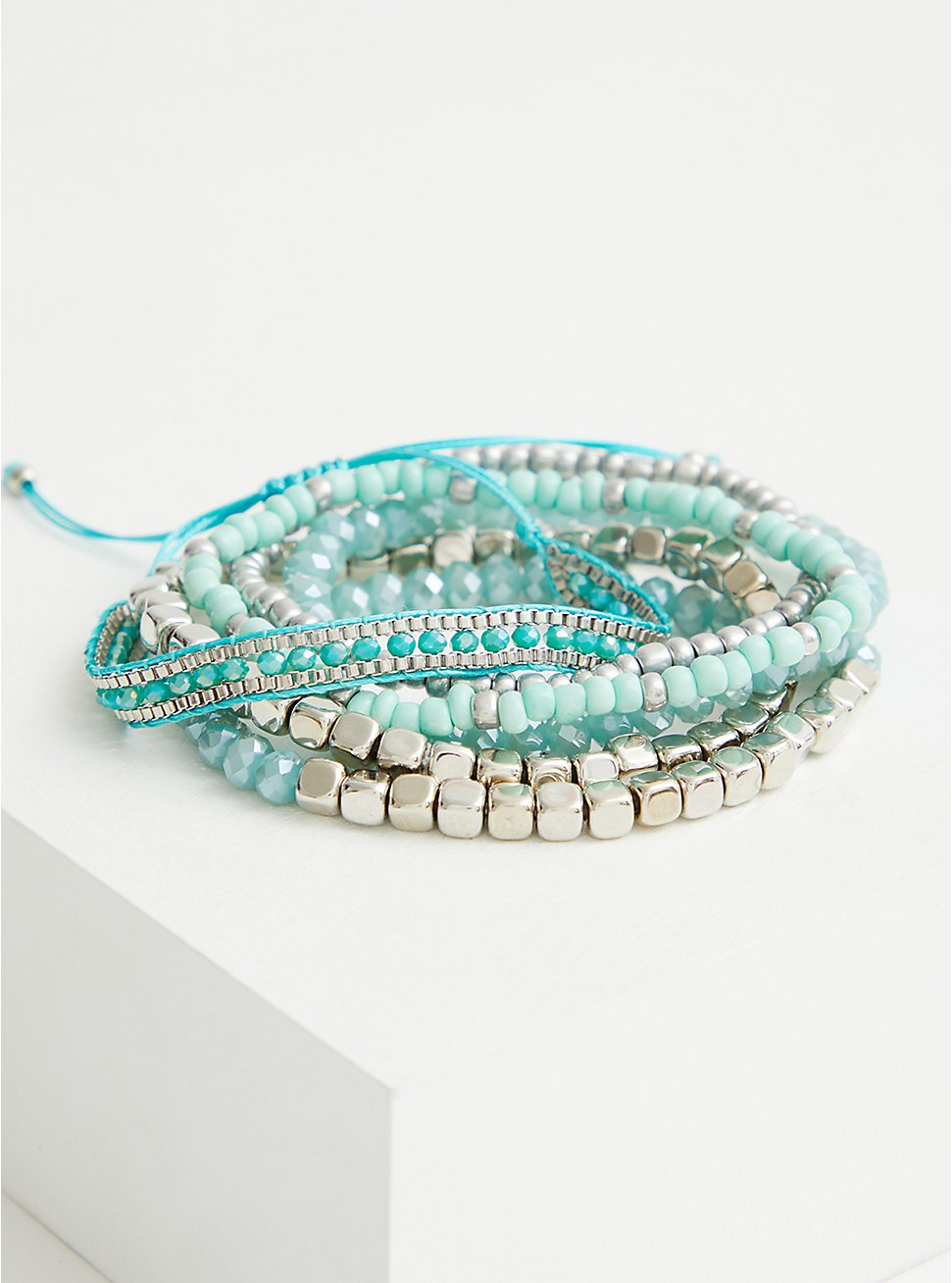 Silver Tone & Faux Turquoise Pull Clasp Bracelet, TURQUOISE, hi-res