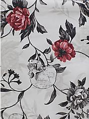 Retro Chic Midi Skater Dress - Stretch Poplin Skull & Floral White, SKULL FLORAL, alternate