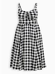 Retro Chic Midi Skater Dress - Stretch Poplin Gingham Black & White, GINGHAM WHITE-BLACK, hi-res