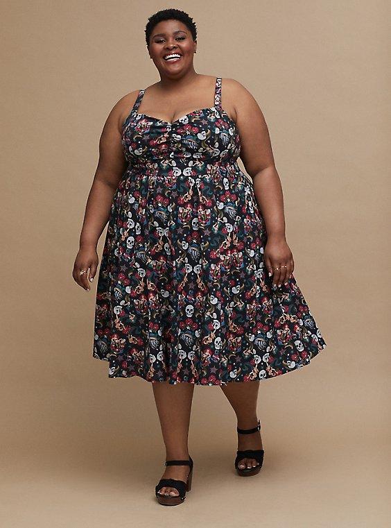 Plus Size Retro Chic Midi Skater Dress - Stretch Poplin Tattoo Print Black, , hi-res