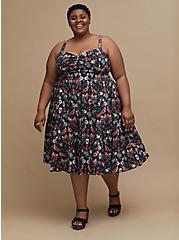 Plus Size Retro Chic Midi Skater Dress - Stretch Poplin Tattoo Print Black, TATTOO, hi-res