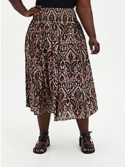 Sand Ikat Gauze Smocked Waist Tea Length Skirt, IKAT - COLORED, hi-res
