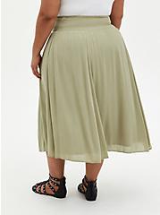 Green Gauze Smocked Waist Tea Length Skirt, TEA, alternate