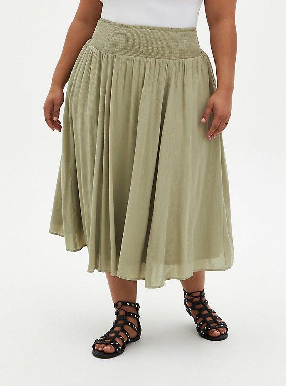 Green Gauze Smocked Waist Tea Length Skirt, TEA, hi-res