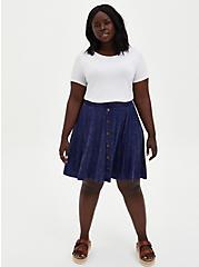 Super Soft Navy Wash Button Front Mini Skirt, PEACOAT TIE DYE- NAVY, alternate