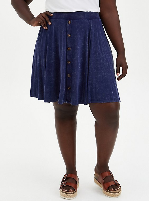 Super Soft Navy Wash Button Front Mini Skirt, PEACOAT TIE DYE- NAVY, hi-res