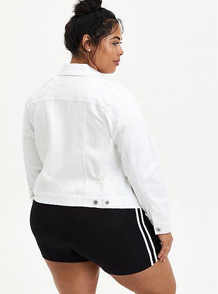 Plus Size White Destructed Cropped Denim Trucker Jacket, OPTIC WHITE, alternate