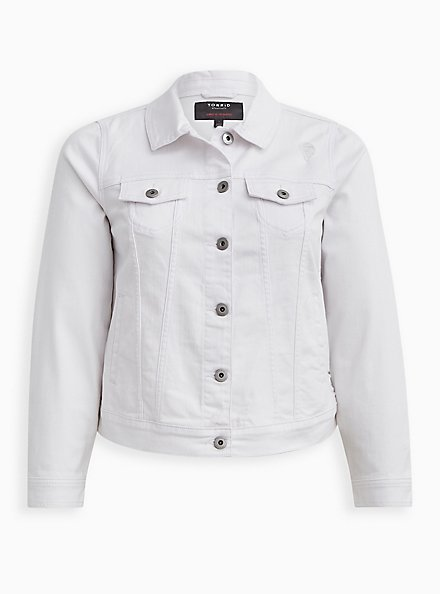 Plus Size White Destructed Cropped Denim Trucker Jacket, OPTIC WHITE, hi-res