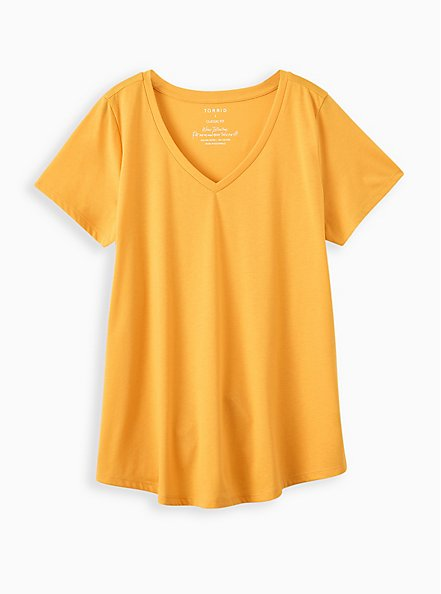 Plus Size Girlfriend Tee - Signature Jersey Mustard Yellow, OLD GOLD, hi-res
