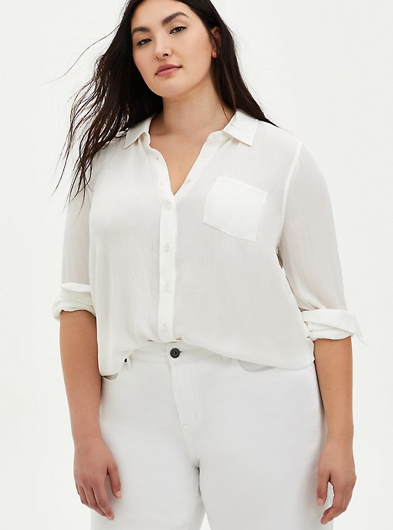 Ivory Crinkle Gauze Button Down Shirt, CLOUD DANCER, hi-res
