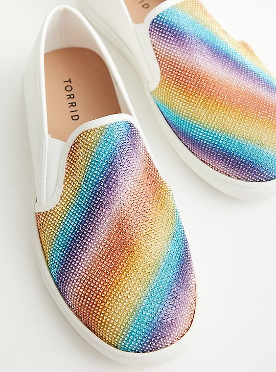 Celebrate Love Rainbow Embellished Slip On Sneaker (WW), RAINBOW, hi-res