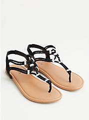 Black Embellished Stretch T-Strap Sandal (WW), BLACK, alternate