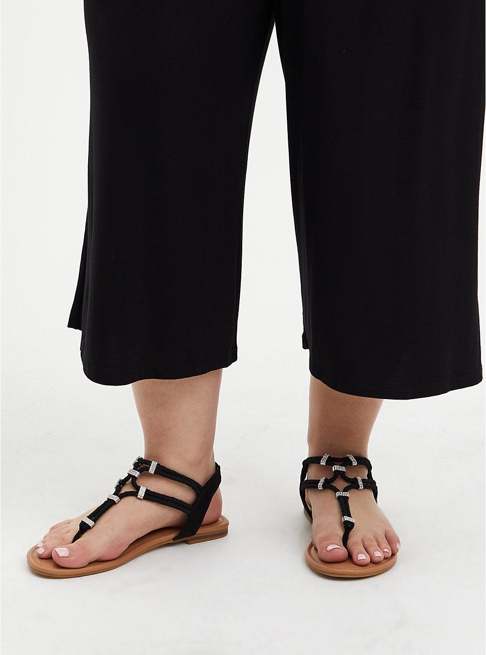 Black Embellished Stretch T-Strap Sandal (WW), BLACK, hi-res