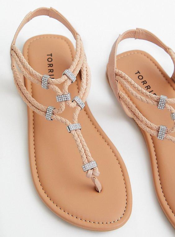 Blush Embellished Stretch T-Strap Sandal (WW), , hi-res