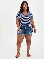 Navy & White Stripe V-Neck Ringer Tee, OTHER PRINTS, alternate