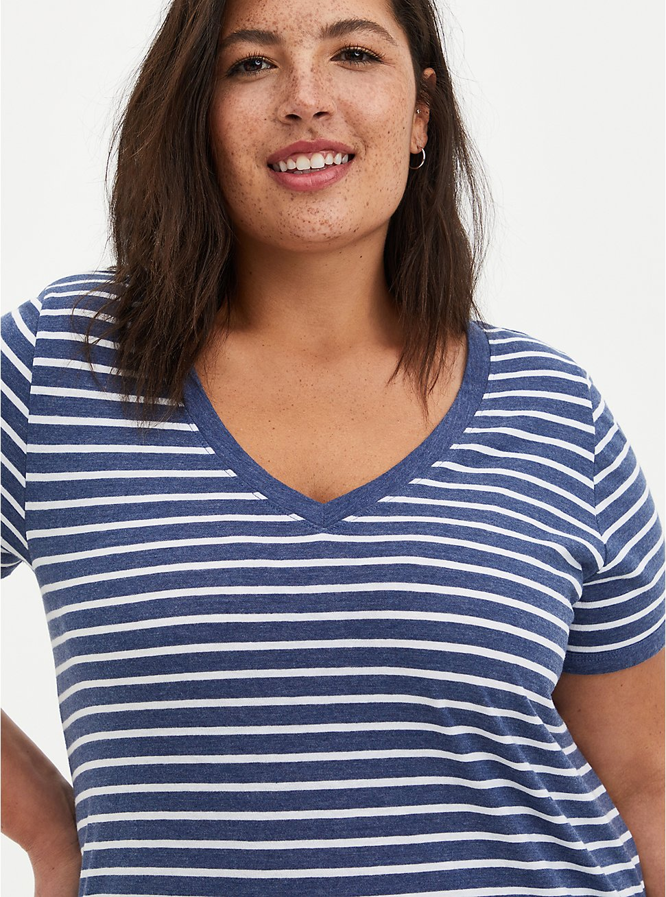 Navy & White Stripe V-Neck Ringer Tee, OTHER PRINTS, hi-res