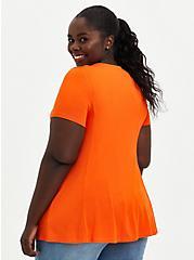 Button Front Top - Super Soft Orange , , alternate