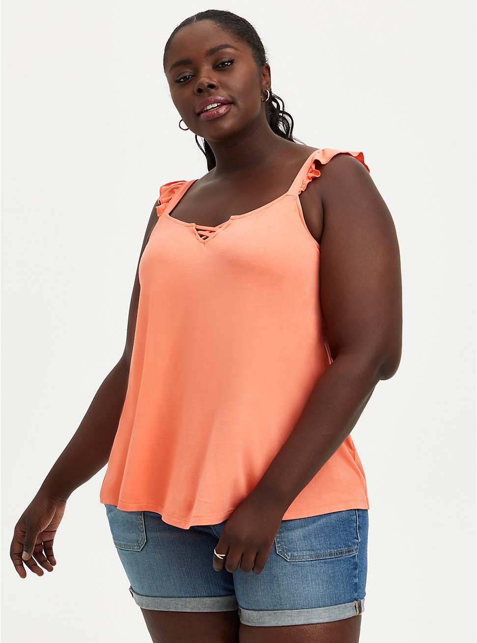 Coral Super Soft Sweetheart Lace-Up Tank, CORAL, hi-res