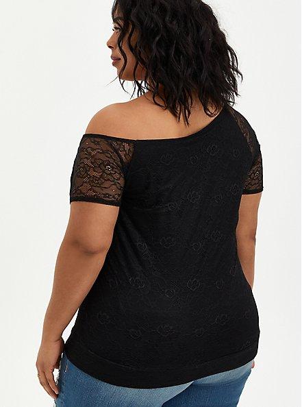 Off Shoulder Tee - Lace Black, DEEP BLACK, alternate