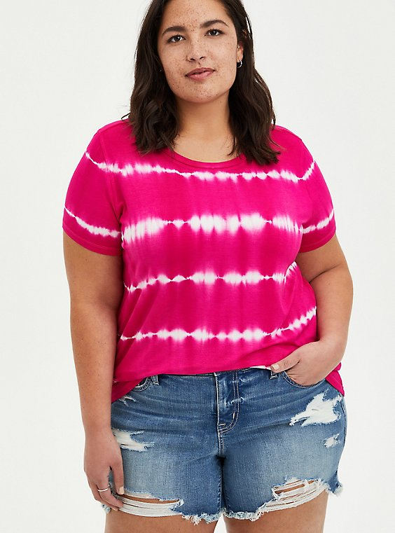 Perfect Tee - Super Soft Pink Tie-Dye, OTHER PRINTS, hi-res