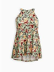 Goddess Tiered Tank - Super Soft Floral Green, OTHER PRINTS, hi-res