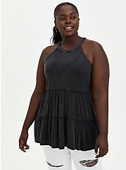 Goddess Tiered Tank - Super Soft Black Mineral Wash , DEEP BLACK, hi-res