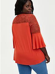 Bell Sleeve Top - Super Soft Rust, BROWN, alternate