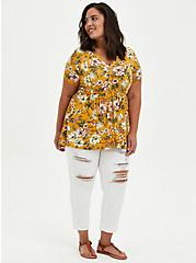 Button Down Babydoll Top - Super Soft Yellow Floral , OTHER PRINTS, alternate
