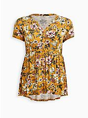 Button Down Babydoll Top - Super Soft Yellow Floral , OTHER PRINTS, hi-res