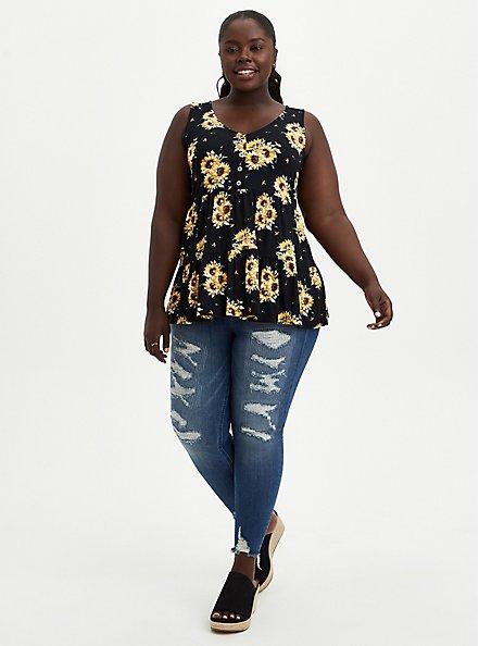 Plus Size Button Front Babydoll Top - Super Soft Black Floral , OTHER PRINTS, alternate