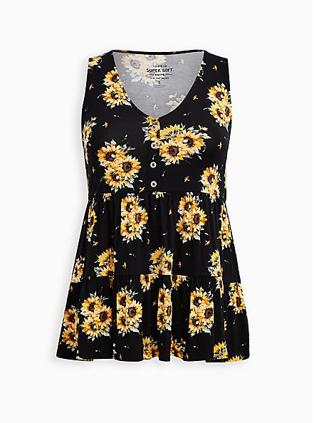 Plus Size Button Front Babydoll Top - Super Soft Black Floral , OTHER PRINTS, hi-res
