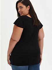 Plus Size Flutter Sleeve Top - Super Soft Black, DEEP BLACK, alternate